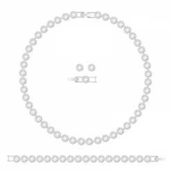 Zestaw z naszyjnikiem Angelic, biały, powlekany rodem