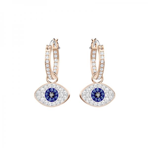 Swarovski Symbolic Pierced Earrings Hoop Evil Eye