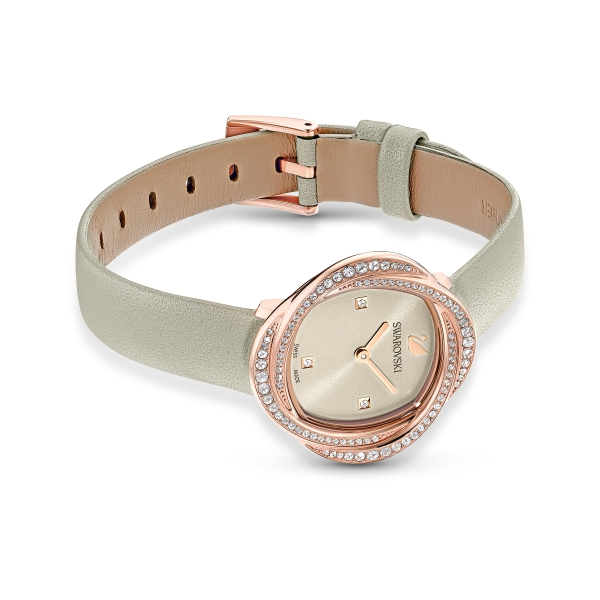 Zegarek Crystal Flower - Beżowy Skórzany Pasek