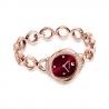 Zegarek Crystal Flower, bransoleta z metalu, czerwony, powłoka PVD w odcieniu różowego złota