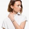 Zegarek Crystal Flower, pasek ze skóry, szary, powłoka PVD w odcieniu różowego złota