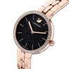 Zegarek Cosmopolitan, bransoleta z metalu, czarny, powłoka PVD w odcieniu różowego złota
