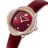 Zegarek Crystal Flower, pasek ze skóry, czerwony, powłoka PVD w odcieniu różowego złota