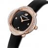 Zegarek Crystal Flower, pasek ze skóry, czarny, powłoka PVD w odcieniu różowego złota