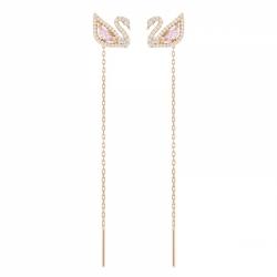 Dazzling Swan Pierced Earrings Lng Czmo/ros