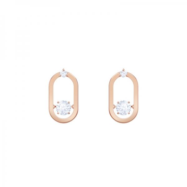 Sparkling Dance Pierced Earrings Oval Studs ,czwh/ros