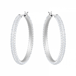Stone Pierced Earrings Hoop