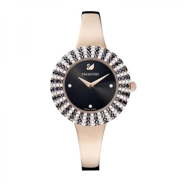 Zegarek Crystal Rose, bransoleta z metalu, czarny, powłoka PVD w odcieniu różowego złota