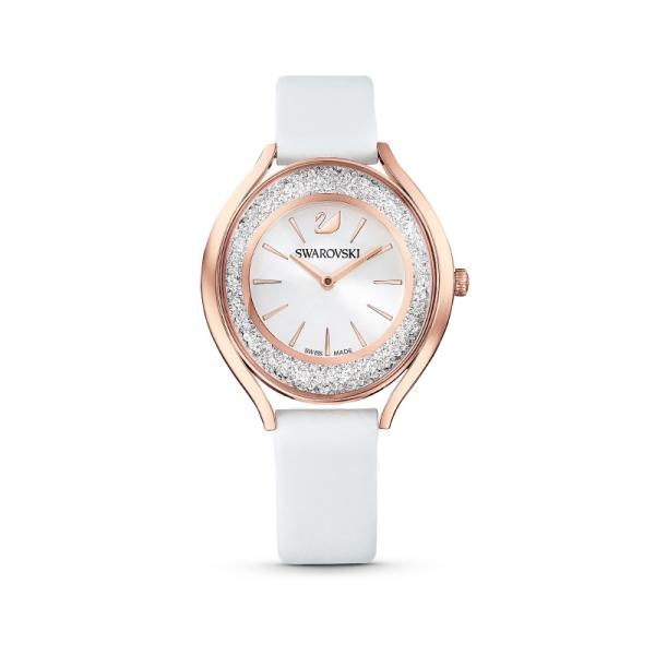 Zegarek Crystalline Aura, pasek ze skóry, biały, powłoka PVD w odcieniu różowego złota