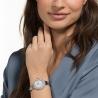 Crystal Rose Watch, metalowa bransoleta, srebrny, stal nierdzewna