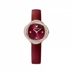 Zegarek Crystal Flower - Czerwony Skórzany Pasek