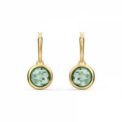 Kolczyki Tahlia Mini Koła - Zielony Kryształ